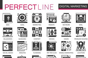 Digital marketing SEO concept icons