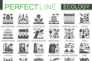 Ecology tech black concept icons