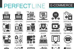 E-commerce black concept icons