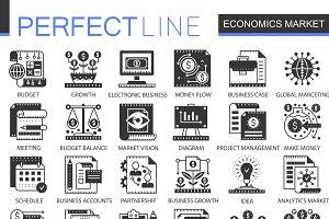 Economics market black concept icons