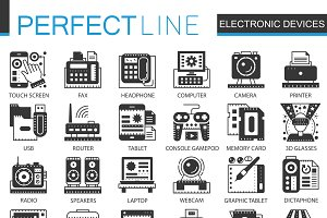 Electronic devices concept icons