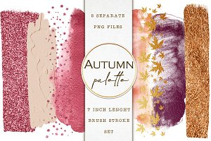Autumn brush strokes clip art