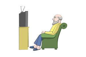 Grandpa watches TV. Vector color