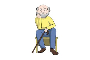 A grandfather with a cane sits