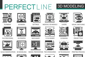 3d printing black concept icons