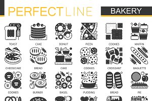 Bakery pastry black concept icons