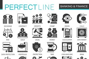 Banking finance black concept icons