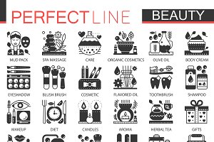 Beauty Cosmetics black concept icons