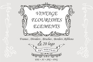 Vintage Art Nouveau elements set 1