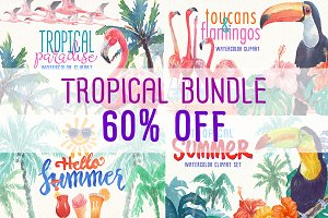 watercolor tropical bundle