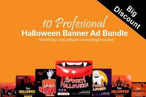 10 Halloween Banners Psd Bundle