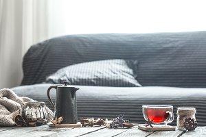 cozy living room with tea