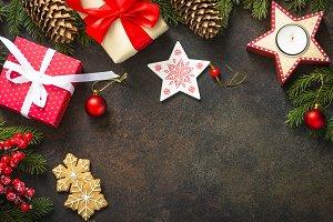 Christmas decorations on dark stone