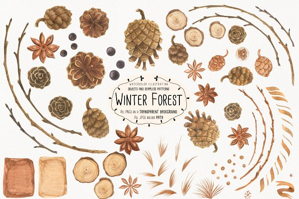 Illustrations and Illustration Products: Snowstorm's Box - Winter Forest