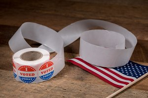 Roll of I Voted Today paper stickers