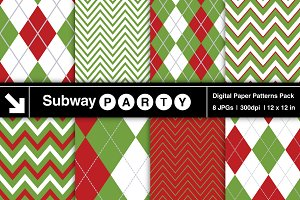 Christmas Chevron & Argyle Papers