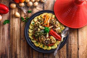 Fish tagine with chermoula, moroccan