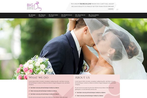 WordPress Wedding Themes: 7Theme - Bigday - Wedding Planner WP Theme