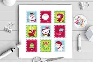 Whimsical Fun Christmas Stamps