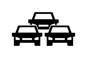 Traffic jam icon, symbol and sign