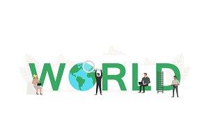 Big word World with working people