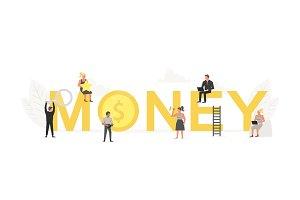 Big word Money with working people