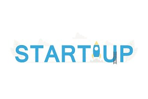 Big word Startup and business banner