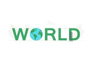 Big word World and earth banner