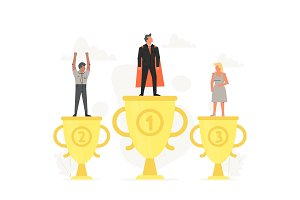 Successful businessman on podium