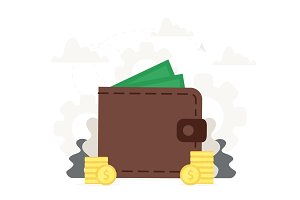 Big wallet with coins near it