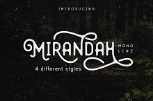 Mirandah | Monoline Font Family by  in Display Fonts