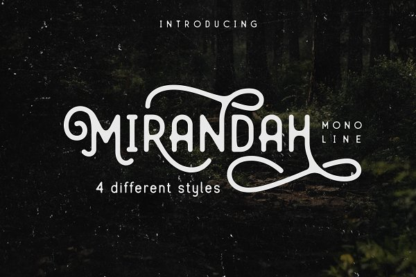 Display Fonts: Arterfak Project - Mirandah | Monoline Font Family