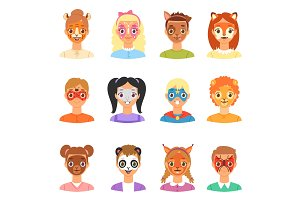 Face paint kids vector children