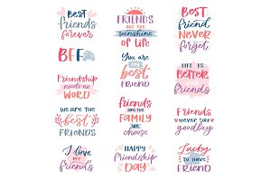 Friend lettering vector friendship
