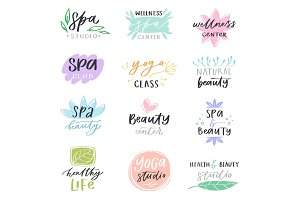 Spa lettering vector beauty