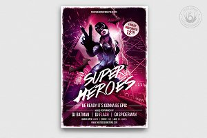 Superheroes Night Flyer Template
