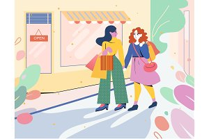 Two girls go from the store with