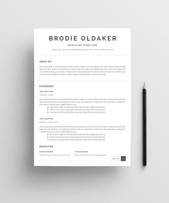 Minimalist Resume Template Templates Creative Market