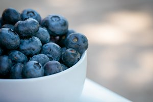 Blueberries in White Bowl