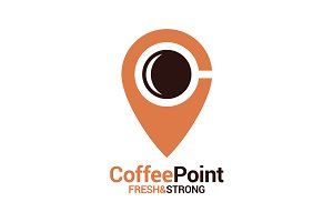 Coffee point logo with coffee cup