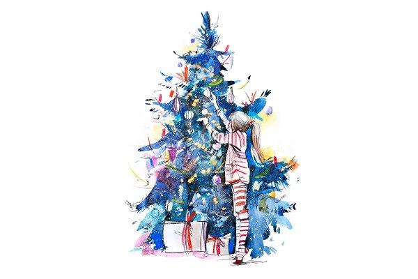 Little girl decorating christmas