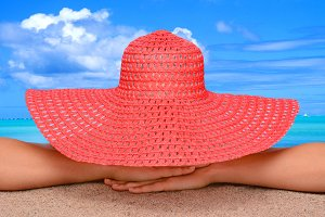Woman Sun Hat Beach