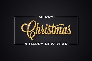 Christmas golden vintage lettering