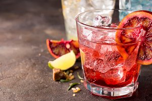 Red cocktail with blood orange