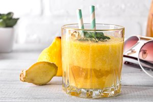 Yellow banana smoothie with mint