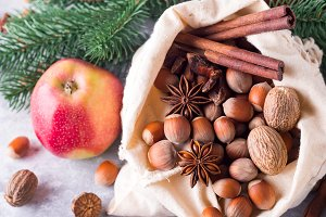 Hazelnuts and walnuts, apples and