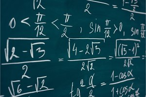 Mathematics formulas written on the