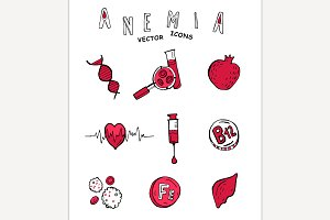 Anemia doodle icons