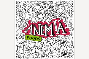 Anemia doodles background