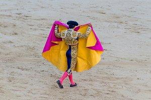 torero raising his capote